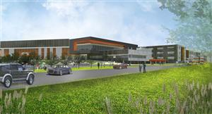 Rendering view of front of HS from Meadowbrook