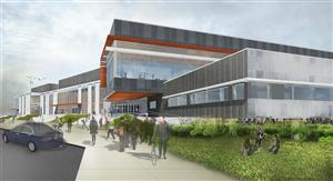 Rendering of approaching the front entrance of the new HS