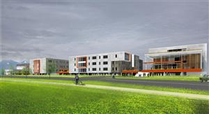 Rendering of HS Freshman Campus at right
