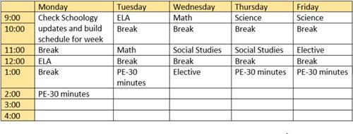Sample schedule for a middle school student
