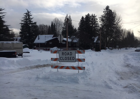Road in front of SES is closed.