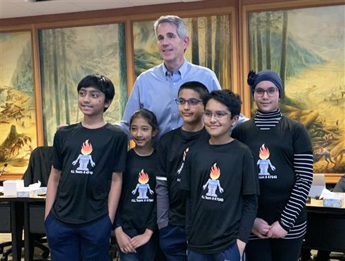 FyreBots Robotics Team with Mayor Matt Larson