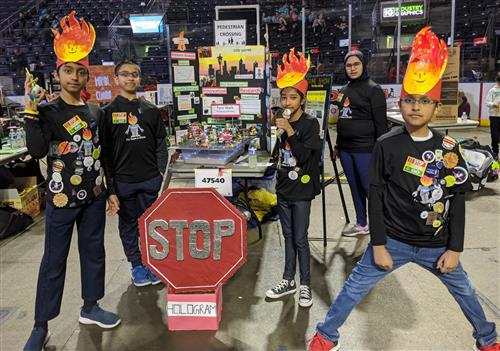 Team FyreBots present their Pedestrian Safety robotics design at State competition.