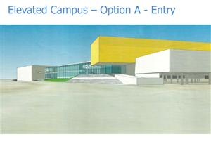 Concept design of front entrance. Yellow part is the media center/library.
