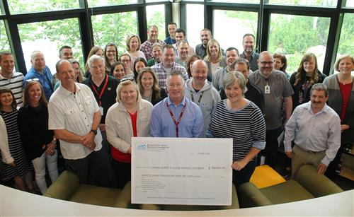 The Snoqualmie Valley Schools Foundation present a ceremonial $84,000 check for 2019-20 districtwide initiatives.