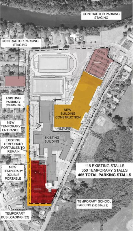 Temporary Parking map for Mount Si High School construction